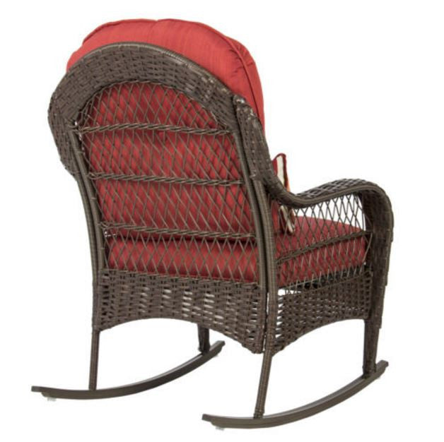 ... Wicker Rocking Chair Patio Porch Deck Furniture All Weather Proof With  Cushions ...