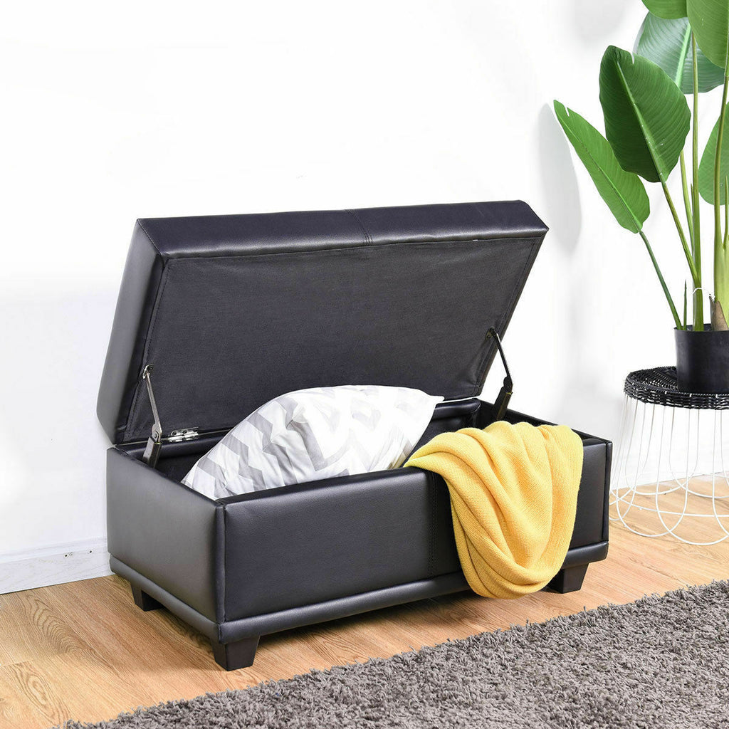 Terrific Storage Ottoman Bench Pvc Leather Footstool Seat Storage Box Black 31 Inches Creativecarmelina Interior Chair Design Creativecarmelinacom