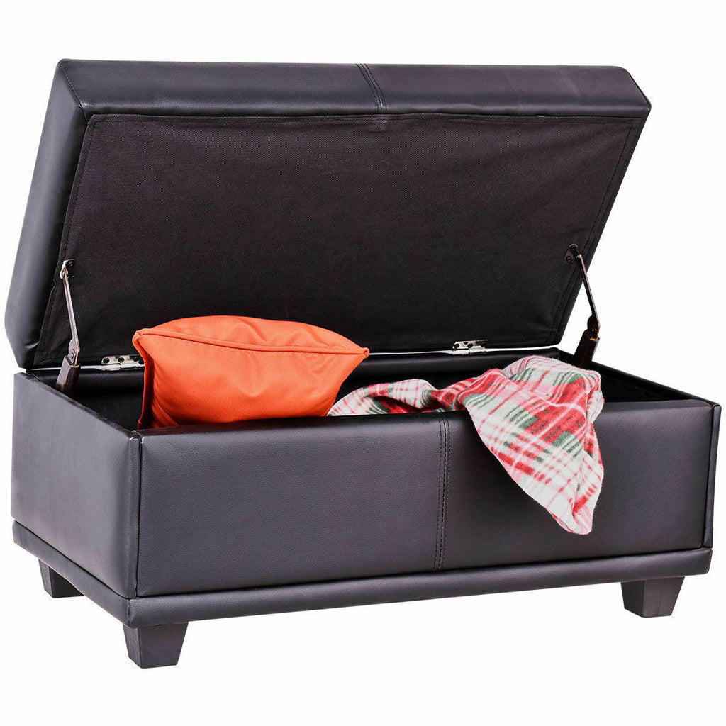 Fine Storage Ottoman Bench Pvc Leather Footstool Seat Storage Box Black 31 Inches Alphanode Cool Chair Designs And Ideas Alphanodeonline