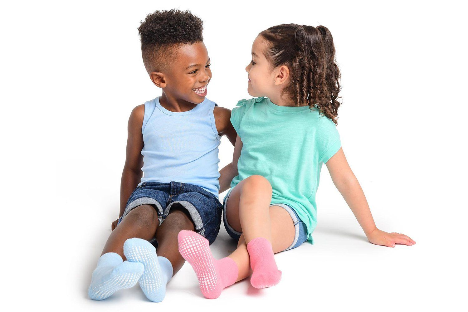 Non-Slip Athletic/Crew Grip Socks for Infants, Toddlers & Kids - 6 Pairs -  LA Active