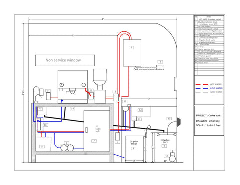 coffee truck and coffee cart CAD floor plan drawing