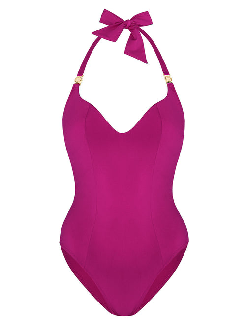 Magenta-one-piece-swimsuit-gold-clasp-aurora-san-AS-SS17