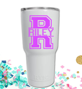 Vinyl Name Decal, Collegiate Monogram Decal