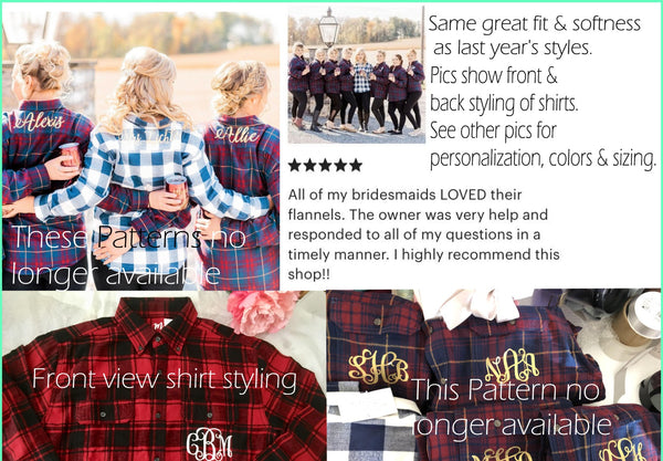 Set of 5 Flannel Bridesmaid Shirts