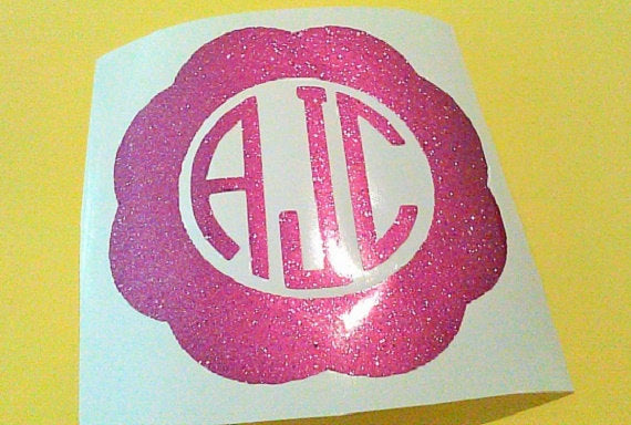 Glitter monogram, scalloped decal
