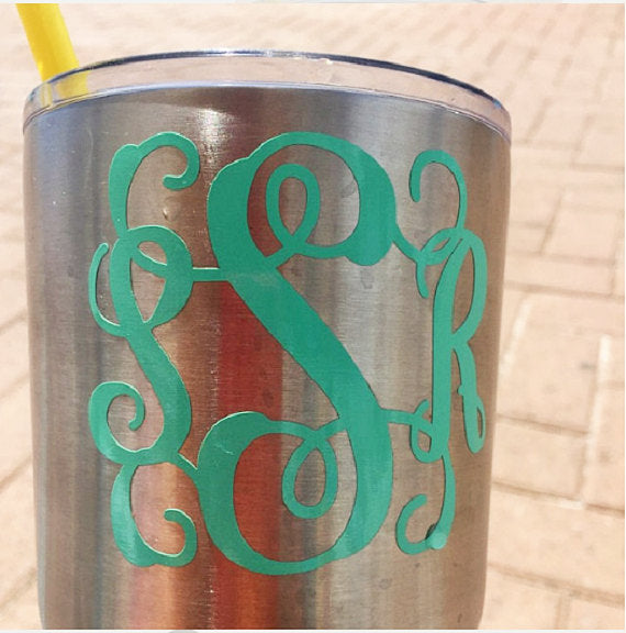 Monogram Decal, Vinyl Decal for Tumbler-Lettermix Studio