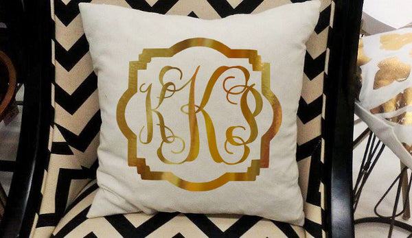 Monogram Pillow Cover or DIY Iron on for pillows, Gold Monogram-Lettermix Studio