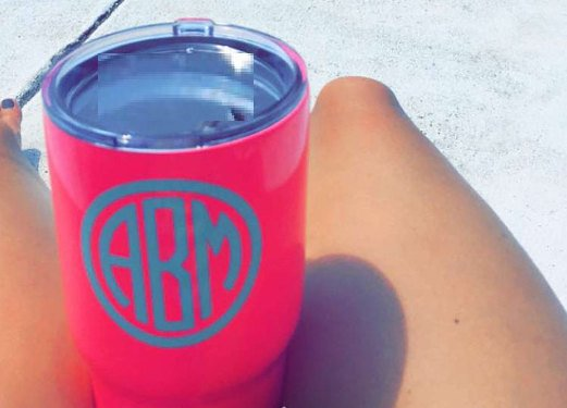 Circle Monogram Decal-Sticker for Cup-Sorority Gift-Preppy Decal-Gift for Her-Lettermix Studio