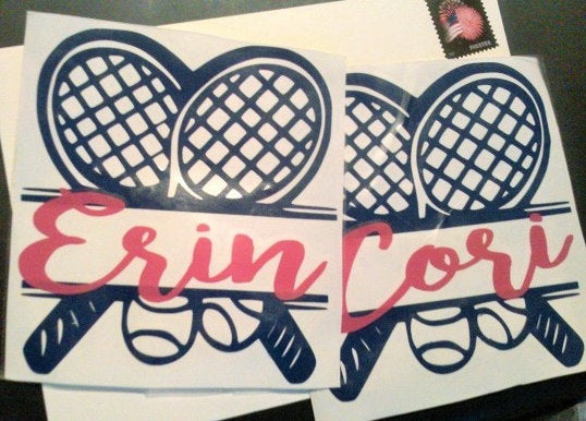Tennis Team Name decals, Doubles Tennis Racket decal