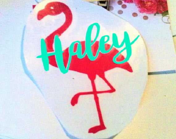 Personalized Flamingo decal with Name or Monogram, Summer party cup decals-Lettermix Studio