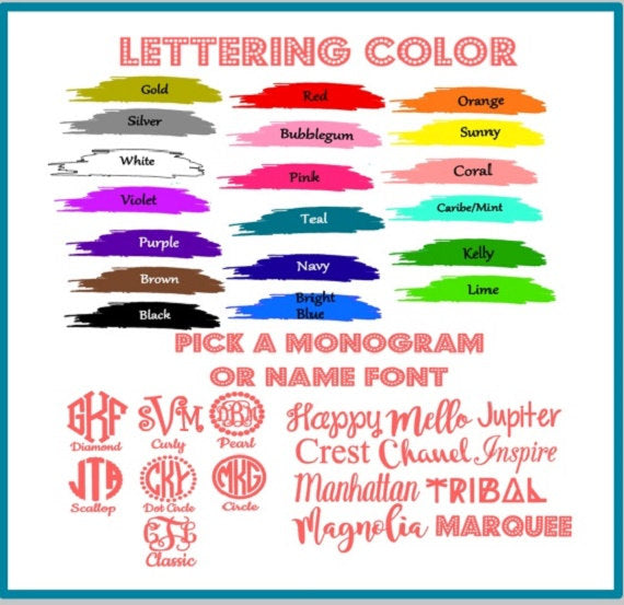 Scallop Monogram Vinyl Decal, Preppy Monogram