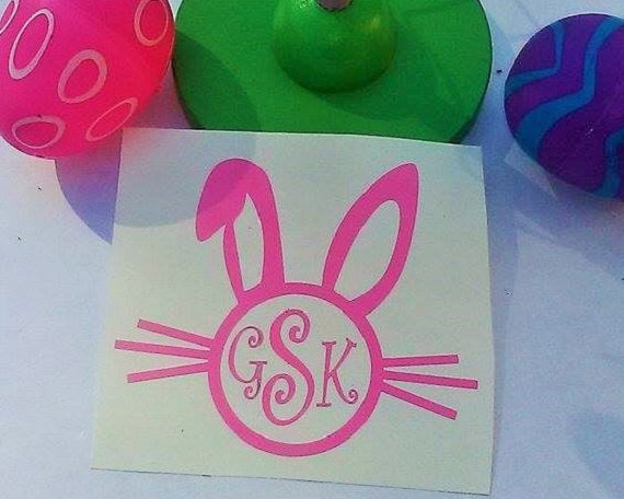 Monogram Easter egg decal, Easter bucket decal