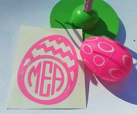 Monogram Easter egg decal, Easter bucket decal-Lettermix Studio