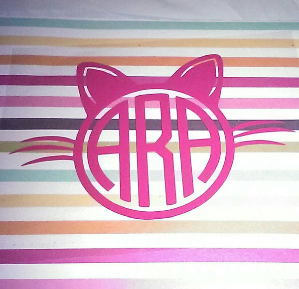 Cat Iron on Monogram-Lettermix Studio