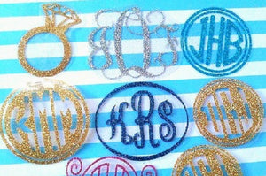 Glitter Monogram diy iron on, Heat transfer Glitter Vinyl-Lettermix Studio