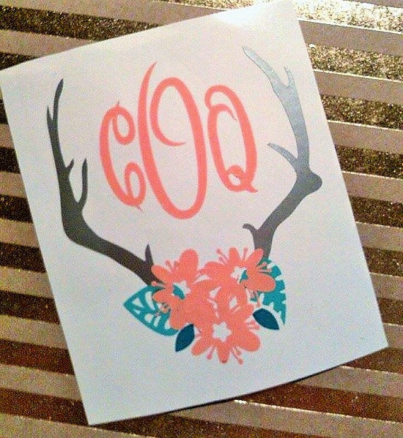Boho Floral Antlers Monogram, Decal for Women-Lettermix Studio