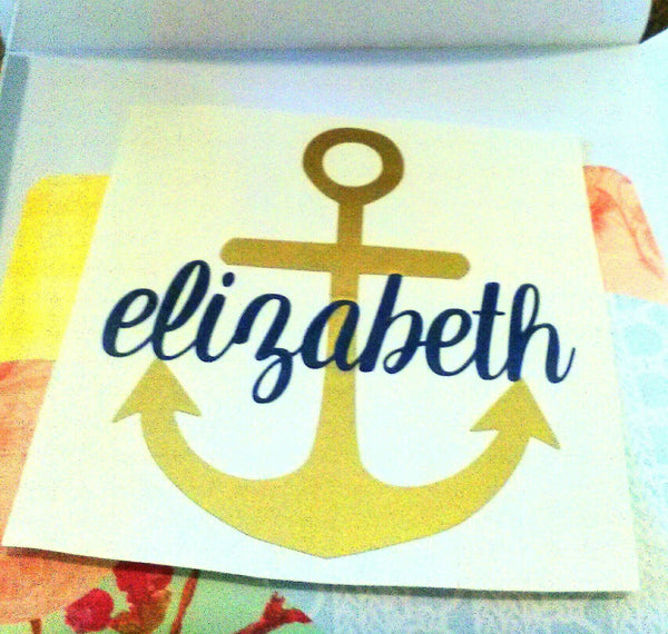 Vinyl Name Anchor Decal, Father's Day gift idea-Lettermix Studio