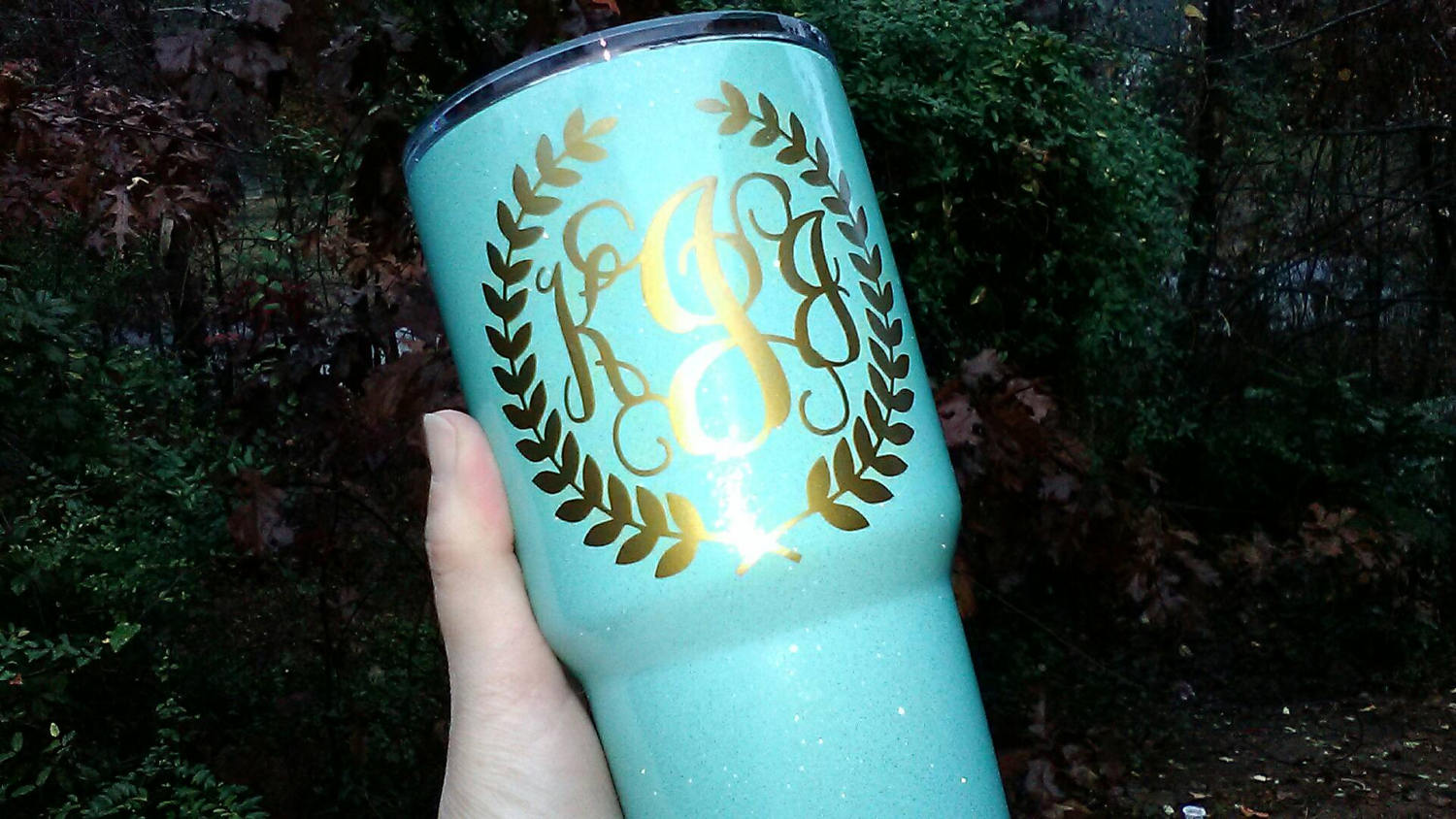 Wreath Monogram Vinyl Decal for cup