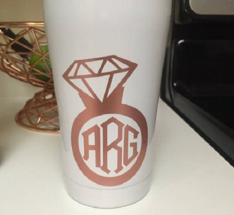 Engagement Ring decal, Diamond Ring Monogram-Lettermix Studio