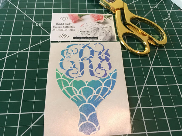 Mermaid Tail Monogram, Mermaid Scales decal