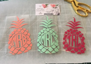 Pineapple Iron on-Bachelorette party diy-Gift for Her-Beach Party-Bridal party favor-DIY pineapple shirt-Pocket Monogram-Lettermix Studio