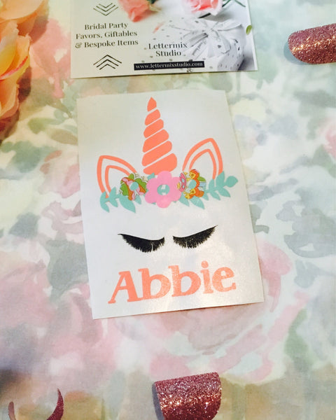 Personalized Unicorn Crown decal, DECAL ONLY-Lettermix Studio