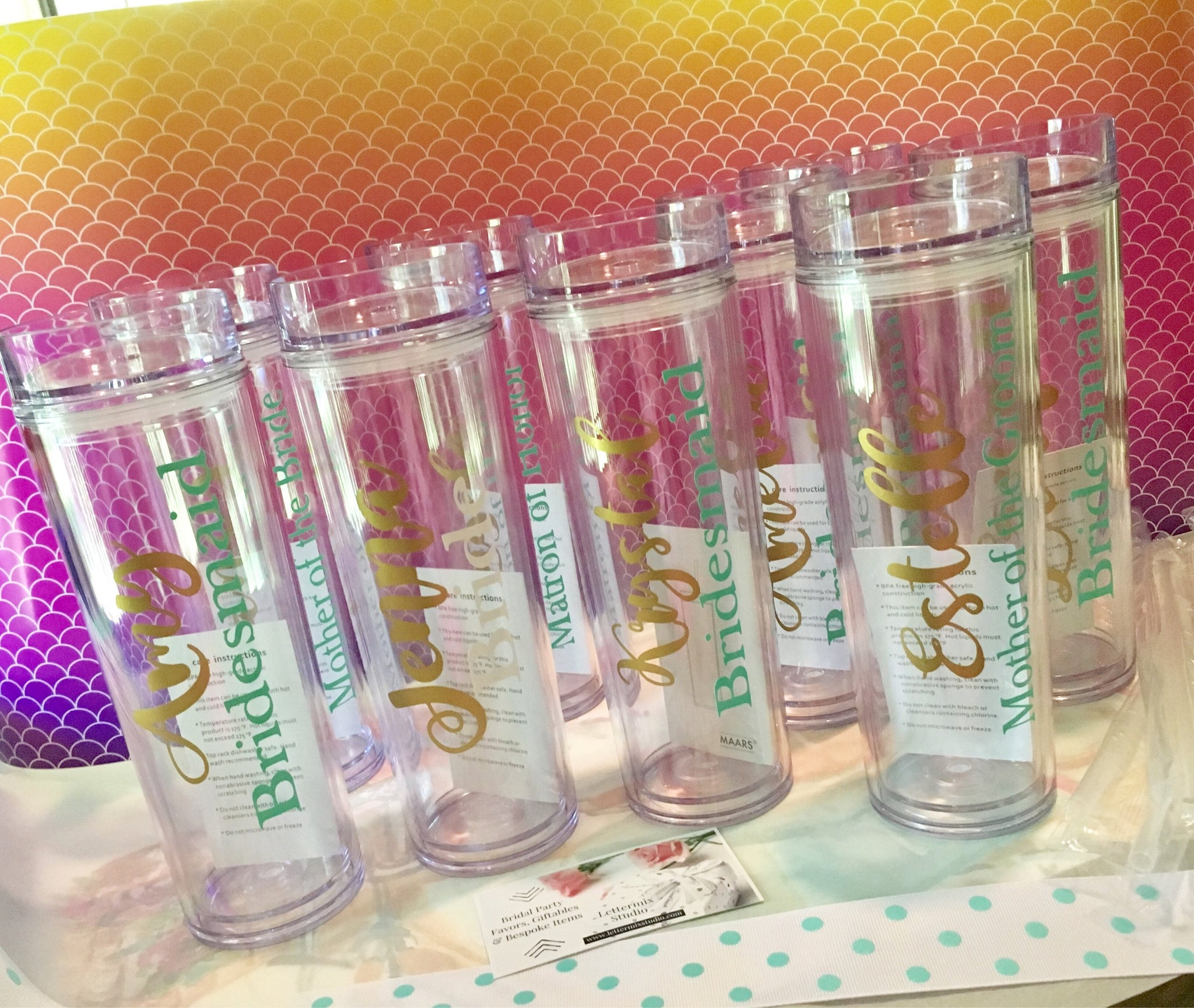 Set of Personalized Bridesmaid Tumblers-Lettermix Studio