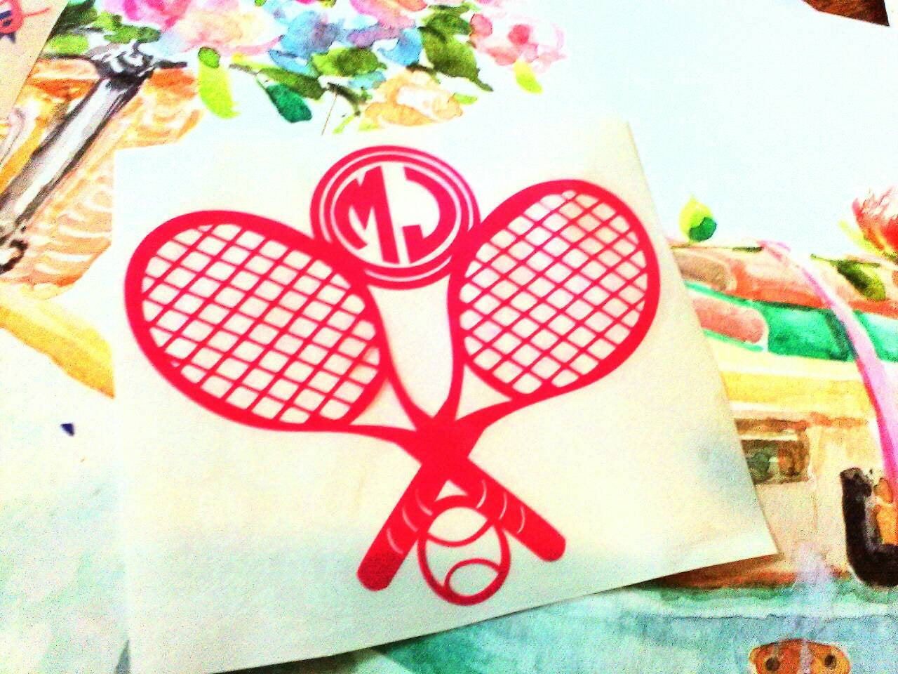 Doubles Tennis Monogram, Tennis Racket decal-Lettermix Studio