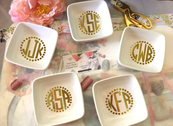 Monogram ring dishes, Gifts for bridal party-Lettermix Studio