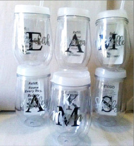 Wine Sippy Cups for Bridesmaids, Sets of 5-12-Lettermix Studio