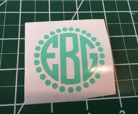 Preppy Circle Monogram Decal for S'well style bottle, Back to school-Lettermix Studio