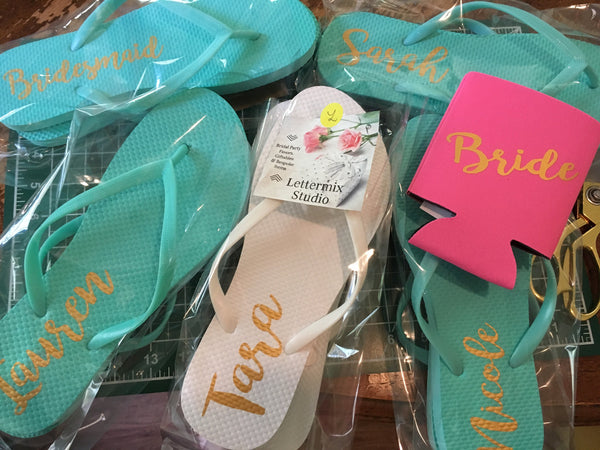 Personalized Mint Bridesmaid Flip flops-Lettermix Studio