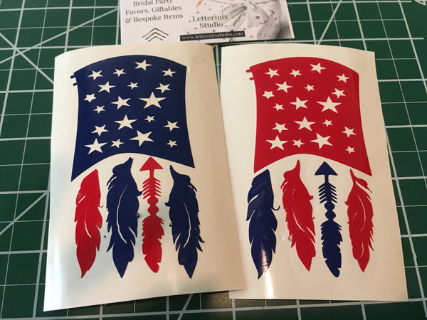 American Flag Decal, Flag with feathers