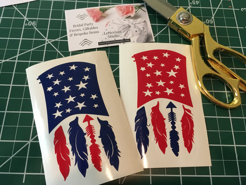 American Flag Decal, Flag with feathers-Lettermix Studio