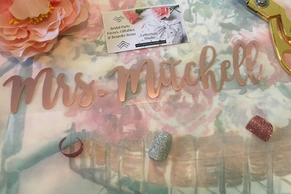 Iron on Lettering for Bride's Sash, Rose Gold Sash diy-Lettermix Studio