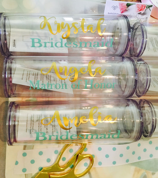 Set of 7 Bridesmaid Tumblers, Cups with names-Lettermix Studio
