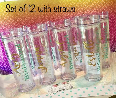 Set of 12 Bridesmaid Tumblers, Personalized Cups-Lettermix Studio