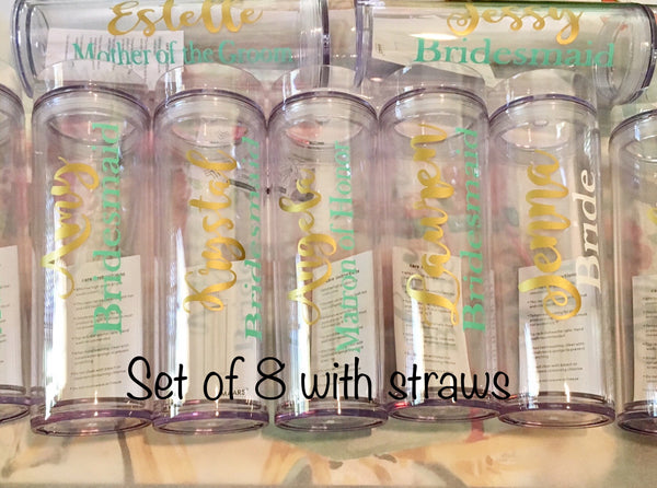 Set of 8 Bridesmaid Tumblers-Lettermix Studio