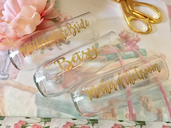 Plastic Stemless Wine Flutes, Bridal party Champagne flutes