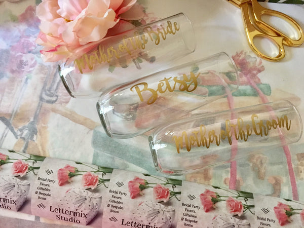 Stemless Wine Flutes, Bridal party Champagne flutes-Lettermix Studio