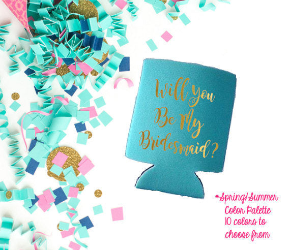 Will you be my Bridesmaid Blush Pink Can Coolers-Lettermix Studio