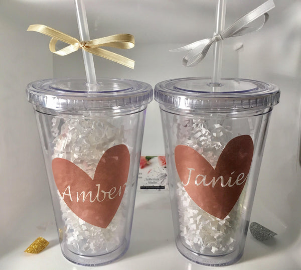 Bridesmaid Tumblers, Personalized Tumbler with straw-Lettermix Studio