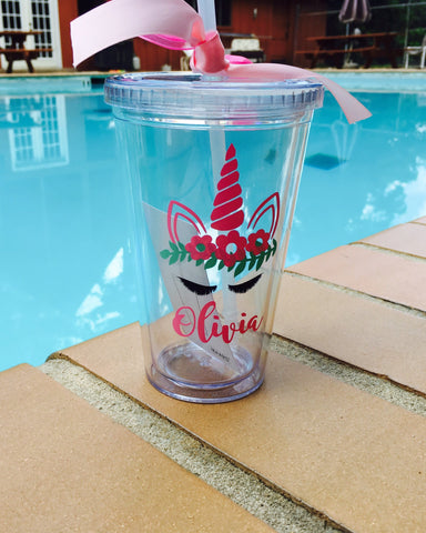 Personalized Tumbler with Unicorn Crown decal, *CUP INCLUDED*