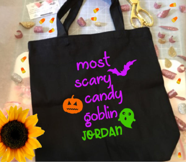 Trick or Treat bag, Halloween Tote Bag for girls-Lettermix Studio