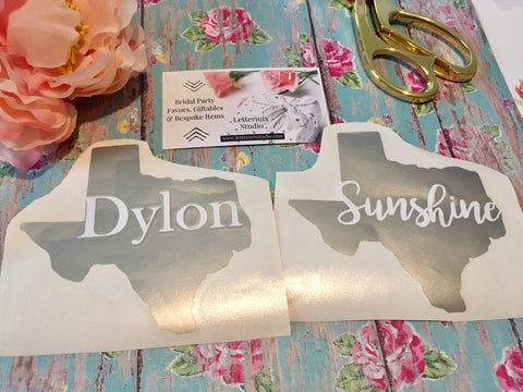 Texas state shape Decal, Name decal-Lettermix Studio