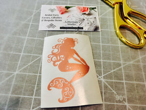 Rose gold foil Mermaid decal, Decals for women