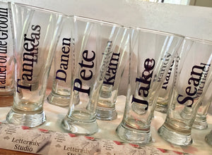 Pilsner Beer Glasses, Personalized Beer Glasses-Lettermix Studio