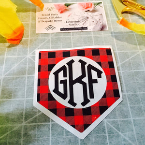 Buffalo Plaid Vinyl Monogram Decal