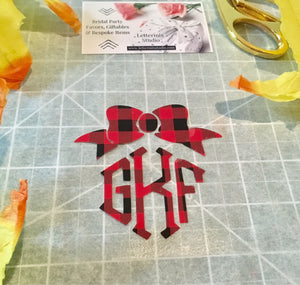 Buffalo Plaid Bow Monogram, DIY Iron on Bow Monogram-Lettermix Studio