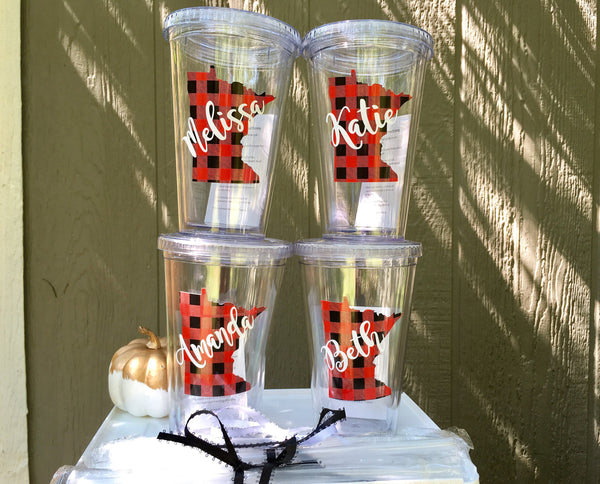 Personalized Tumbler sets, Buffalo plaid state shape-Lettermix Studio